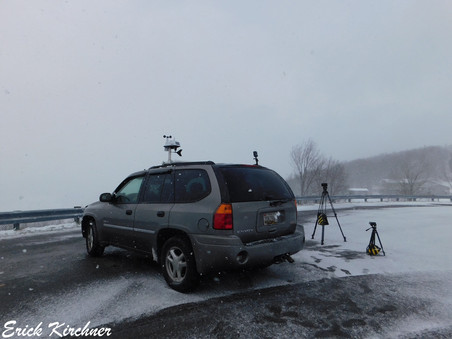The WeatherFix Chase Vehicle Intercepting a Snow Squall