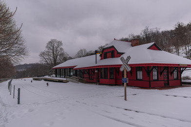 Train Depot on a Winter Day