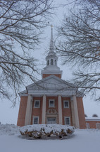 Steeple Surrounded by Winter Scenery
