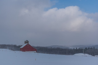 Country Barn With Snow Squall