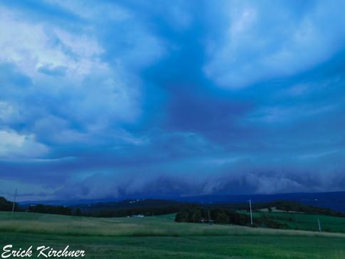 Menacing-Looking Shelf Cloud Scraping Savage Mt., Looking From Eckhart Mines, MD