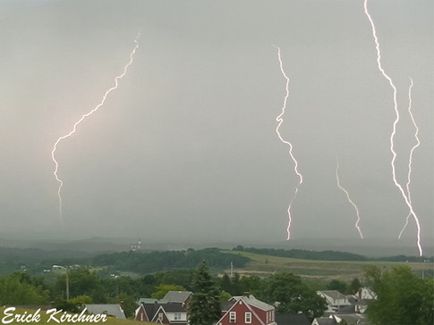 Stacked Image of Five Different Lightning Bolts Striking Just to the South of Cumberland, MD