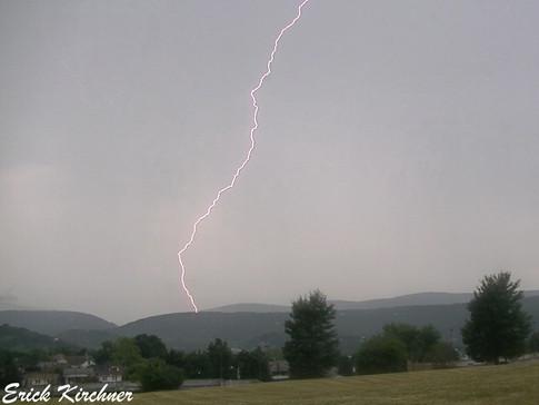 Lightning Bolt Striking Haystack Mt. in Cumberland, MD