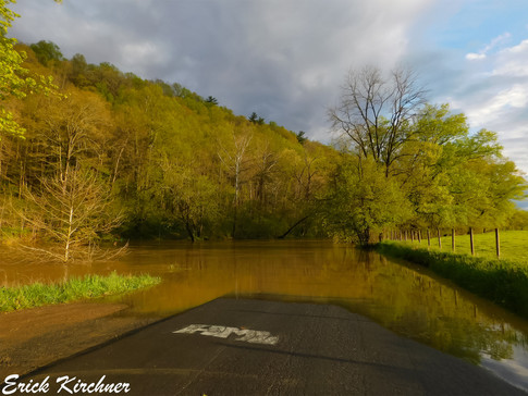 Minor River Flooding Blocking a Low-Water Crossing Near Patterson Creek, WV