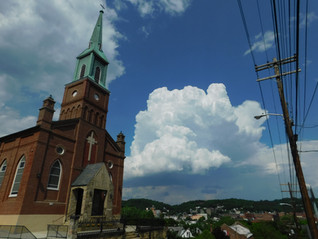 Departing Storm Over Church Steeple