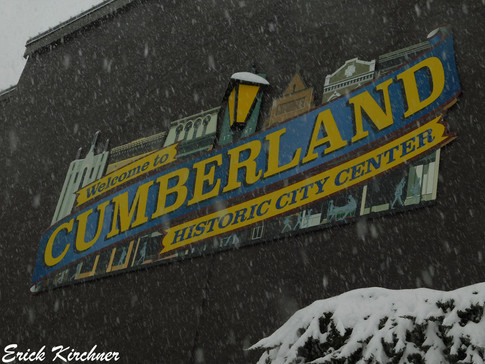 Cumberland's Historic City Center in a Snowstorm