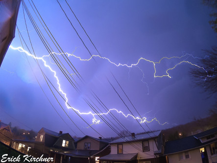 Incredible Spider Lightning Bolt Over WeatherFix HQ in West-Side Cumberland, MD,