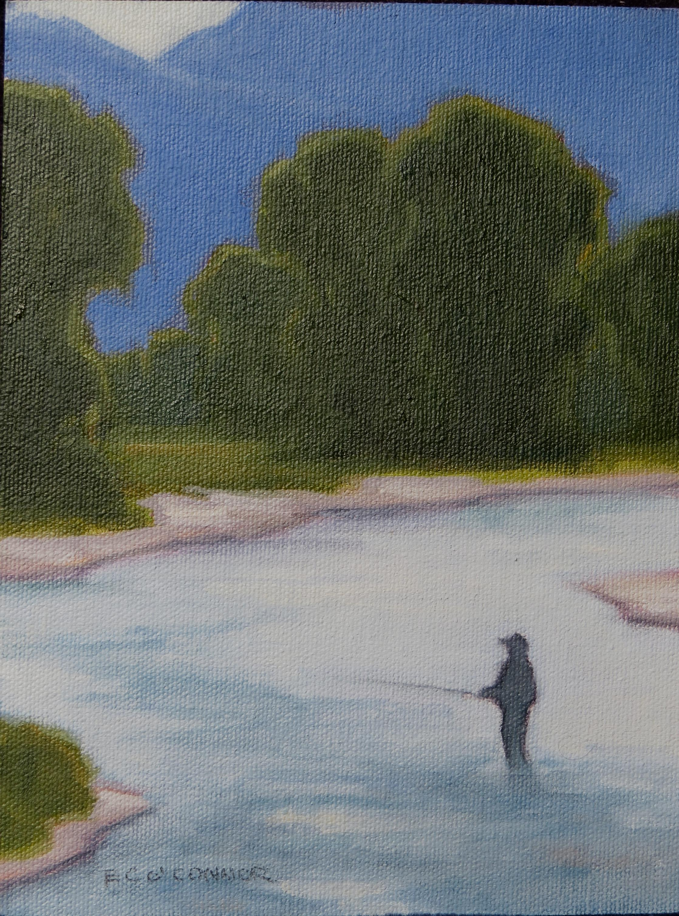 Zen & The Art Of Fly Fishing, 8x6, oil o