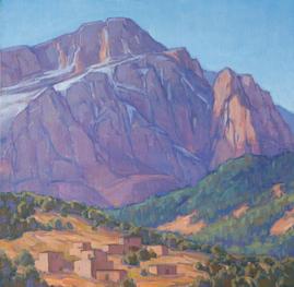 Village Below Jbel Aroudane, High Atlas Mountains,  12x12, oil on linen