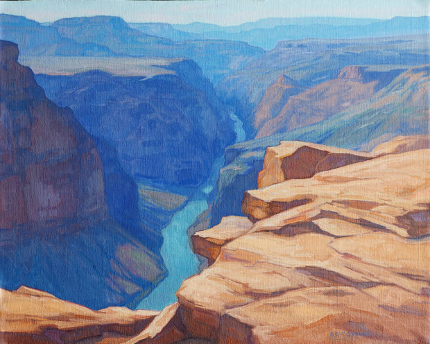 Toroweap Vertigo (above Mile 179), 16x20, oil on linen