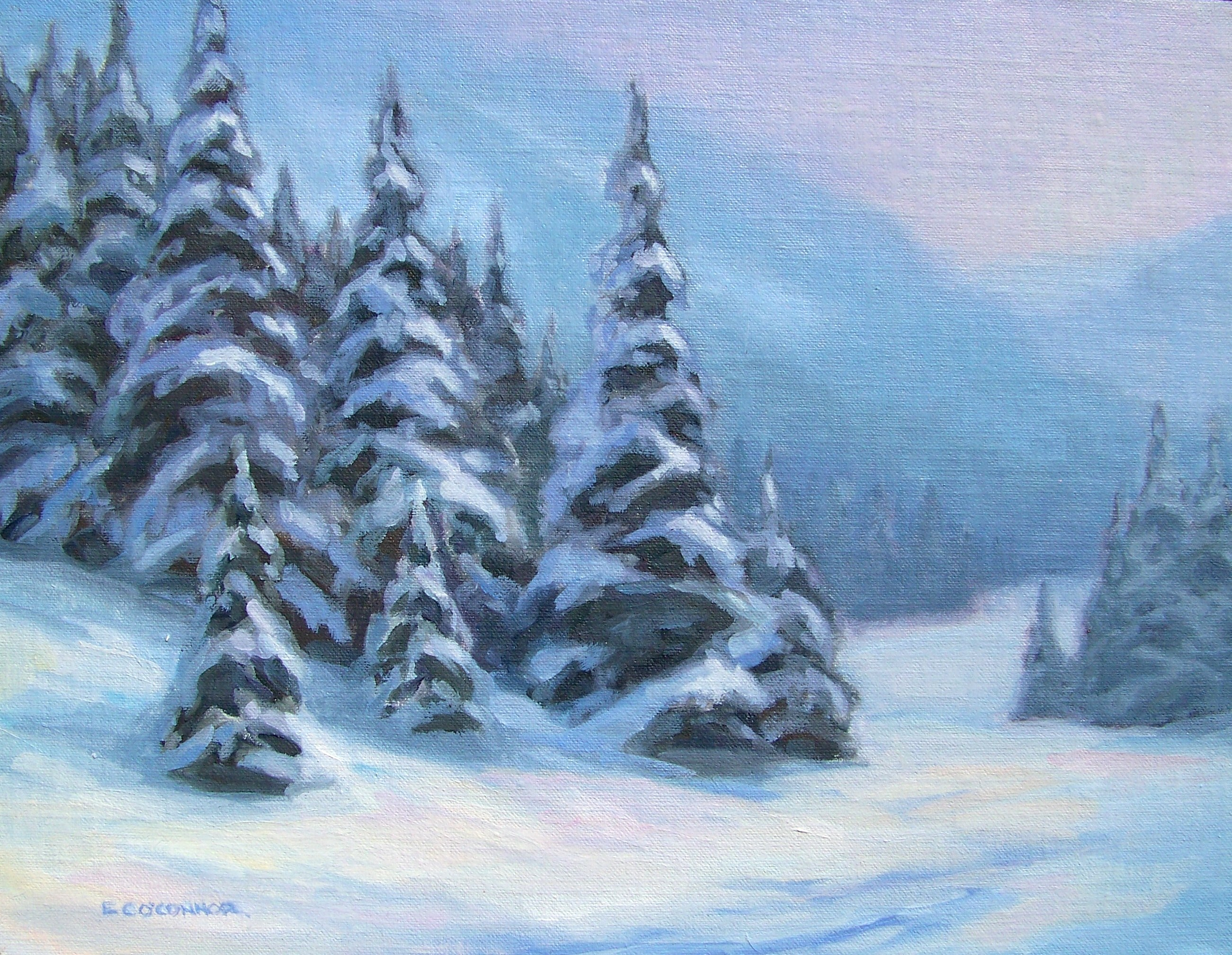 Winter In The Canyon, 11x14, oil on linen