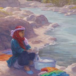 Berber Woman, Ahansal River,  12x12, oil on linen