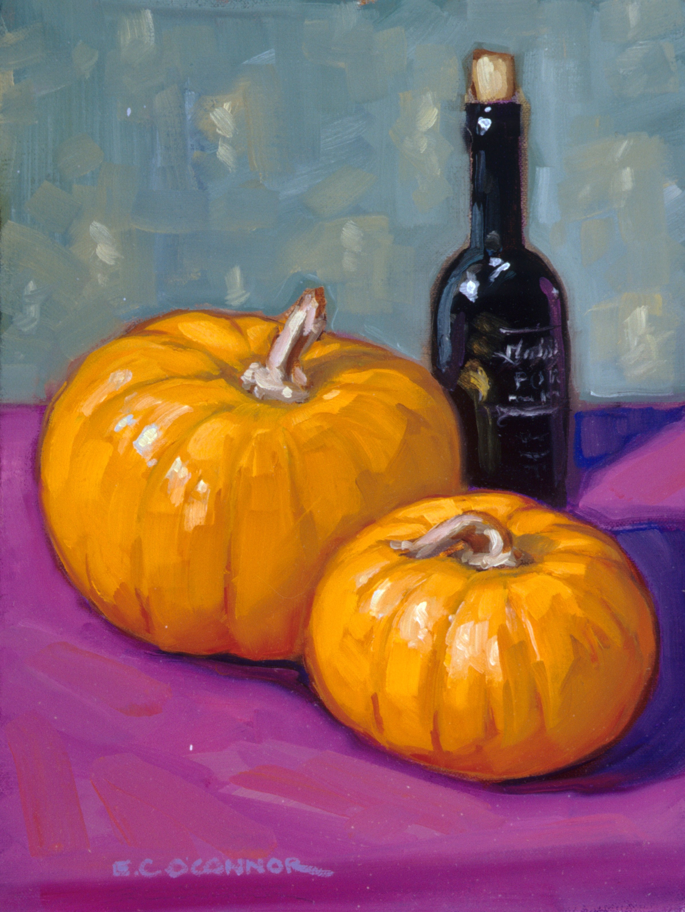 Pumpkins And Port, 12x9, oil on linen