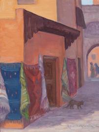 Marrakesh Rug Merchant,  8x6, oil on linen