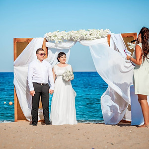 "Romantic rustic ""Open doors"" ceremony on the beach for two"