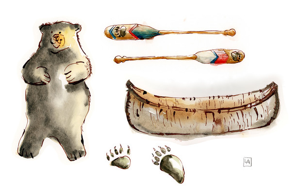 Camping Bears Canoe