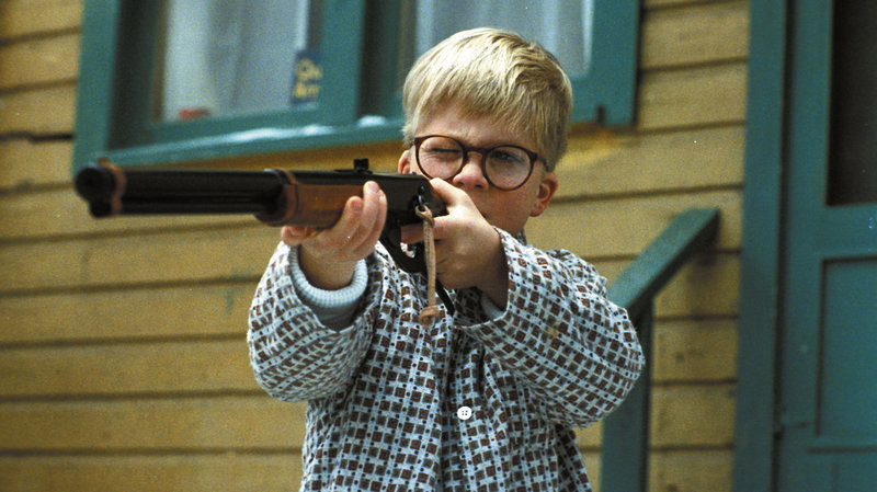 "Peter Billingsley taking aim with his BB gun in ""A Christmas Story."""