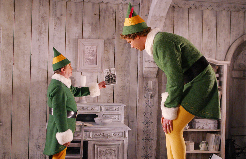 "Bob Newhart as the papa who raised human Will Ferrell in ""Elf"""
