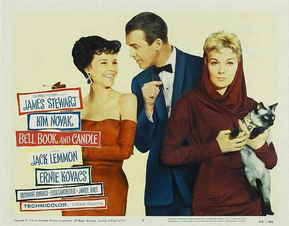 "The 1958 lobby card for ""Bell, Book and Candle"" that had its wide release on Christmas Day"