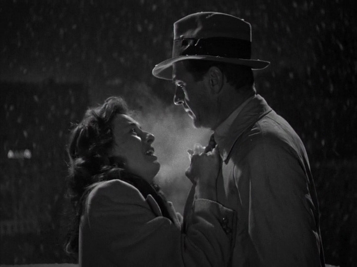 Stanwyck imploring Cooper in the Christmas Eve rooftop scene.