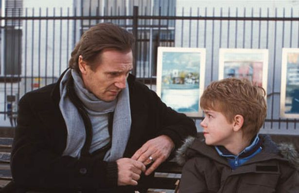 Liam Neeson as a struggling stepfather with stepson, Thomas Sangster