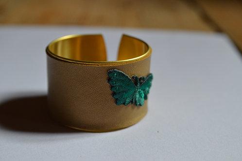 Manchette cuir doré Papillon