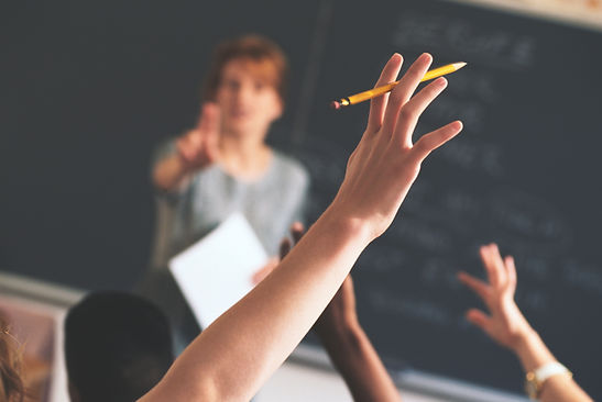 Trainer asking a question and a student raising their hand