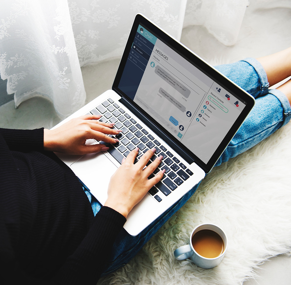 laptop, online, chat, chatbot