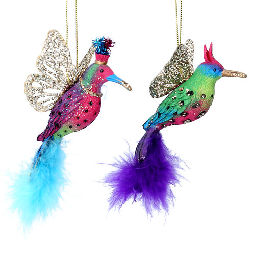 Hummingbird with Feathers 10cm (set of 2)