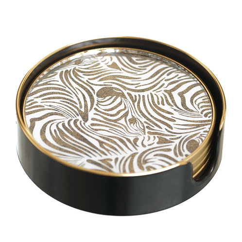 COASTERS IN ZEBRA GOLD PRINT
