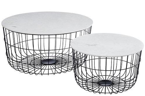 Set Of 2 Side Table Baskets Marble Metal Black