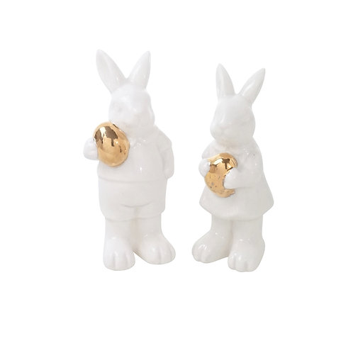 Set of Bunnies with Gold Egg