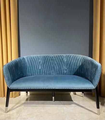Upholstered Bench in Blue Velvet and Black Legs