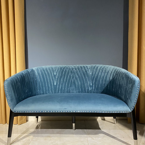 Upholstered Bench in Blue Velvet and Black Legs