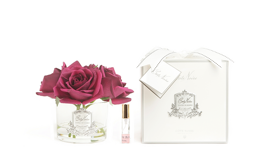 COTE NOIRE PERFUMED NATURAL TOUCH 5 ROSES - CLEAR - CARMINE RED