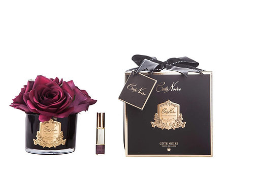 COTE NOIRE PERFUMED NATURAL TOUCH 5 ROSES - BLACK - CARMINE RED