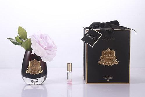 COTE NOIRE - TEAR DROP TEA ROSE BLACK GLASS - FRENCH PINK