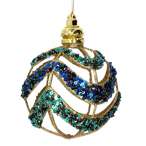 Cut Out Bauble with Peacock Sequins 10cm
