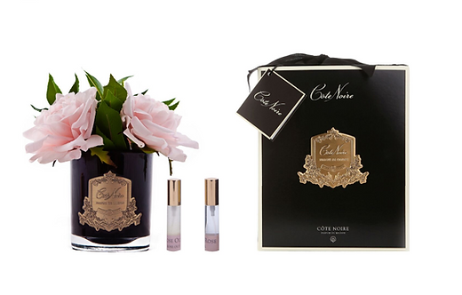 COTE NOIRE PERFUMED PINK ENGLISH ROSE - BLACK GLASS