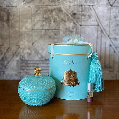 COTE NOIRE - ROUND BLUE ART DECO CANDLE - BLUE BOX