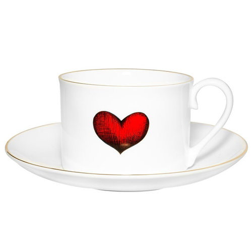 Red Love Heart Tea Cup & Saucer