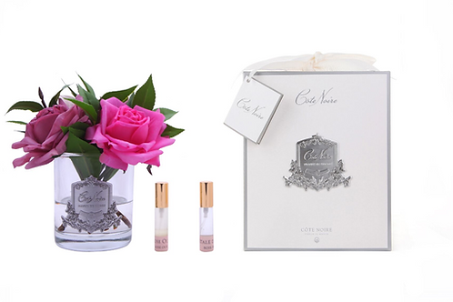 COTE NOIRE - PERFUMED ROSE BOUQUET - CLEAR GLASS