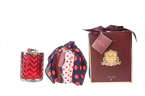 COTE NOIRE - HERRINGBONE RED CANDLE & SCARF - RED ROSE
