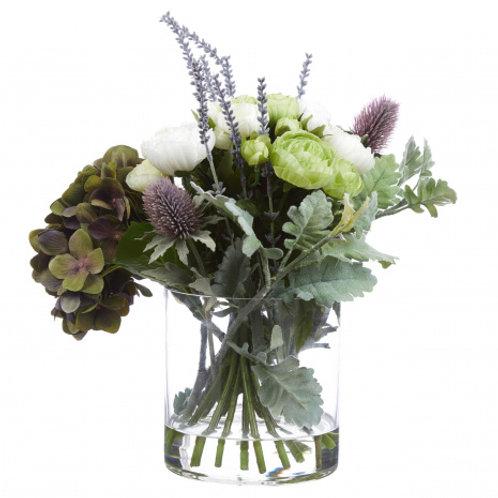 Purple Hydrangea & Thistle Vase