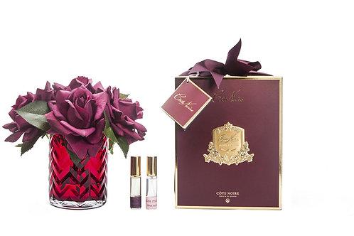 COTE NOIRE - HERRINGBONE FLOWER RED - RED ROSES