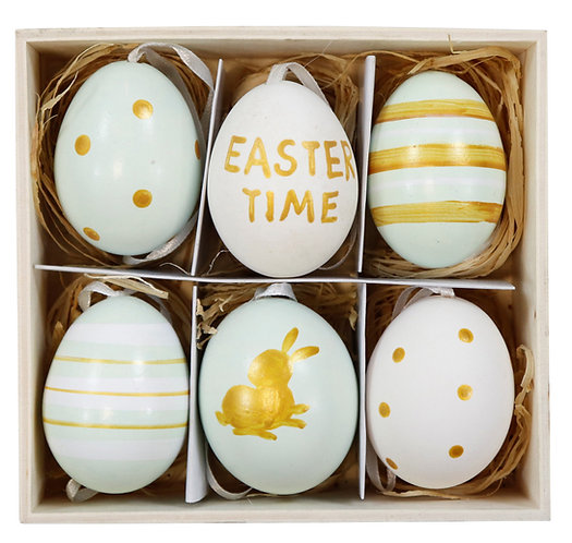 """EGGS IN BOX""""EASTER TIME"""" S/6"""