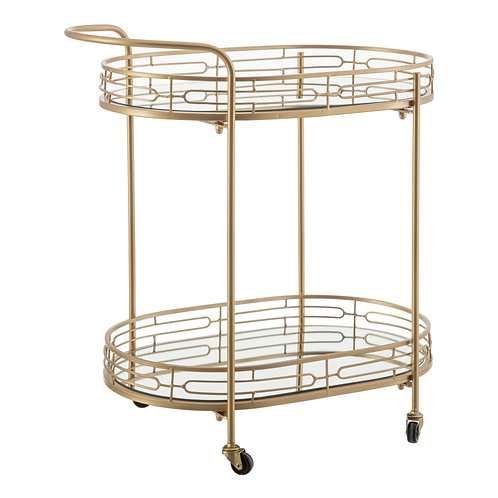 DRINKS TROLLEY IN GOLD METAL AND MIRROR