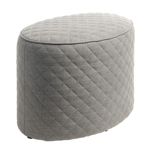 Oval stool with stitch detail, grey linen