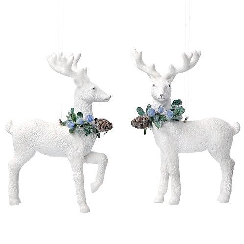 White Deer with Eucalyptus (set of 2)