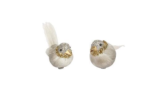 Clip-on Bird 12cm - Pale Gold/Silver Glitter (set of 2)